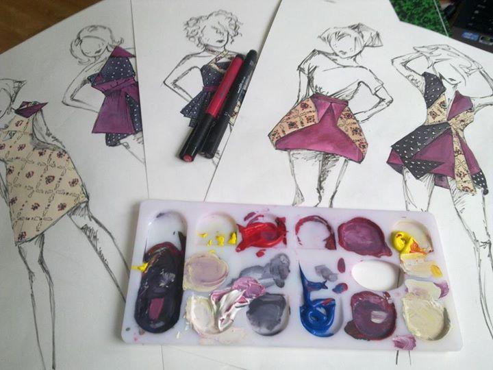 Dessin Fashion sketches  Origami de Kloelicious