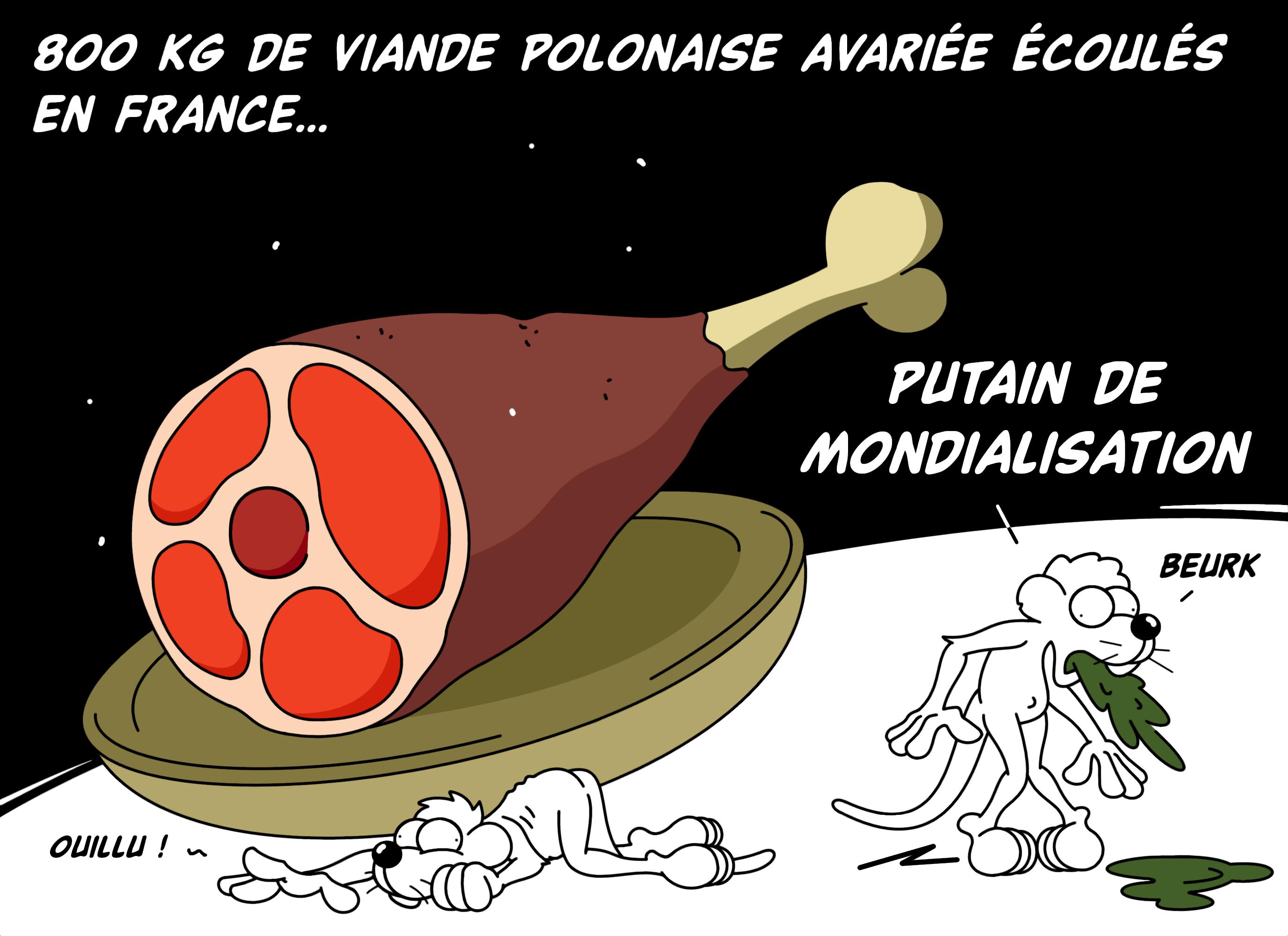 Dessin 800kg de viande polonaise avariée de Chag