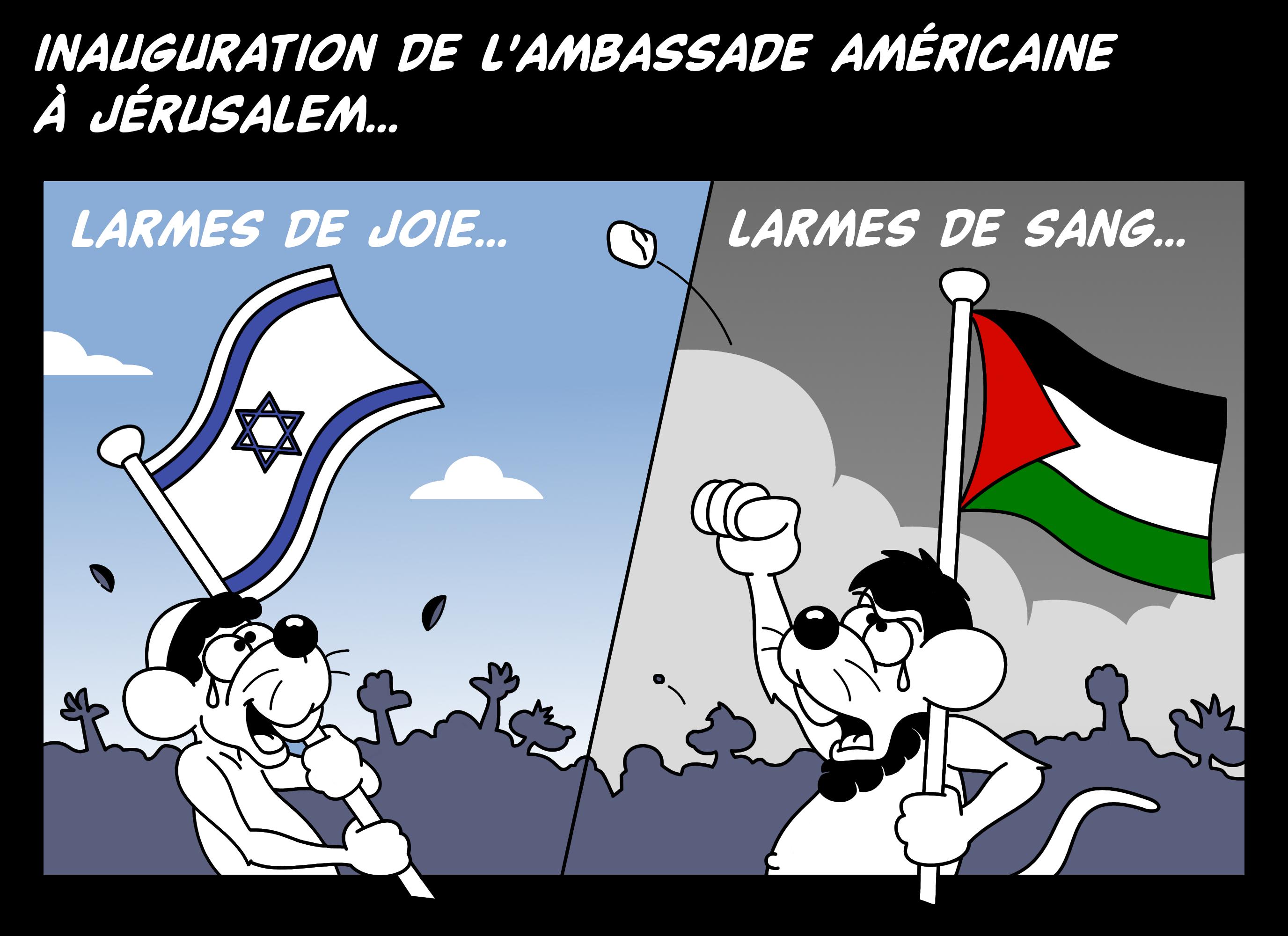Dessin Inauguration de l'ambassade américaine de Chag