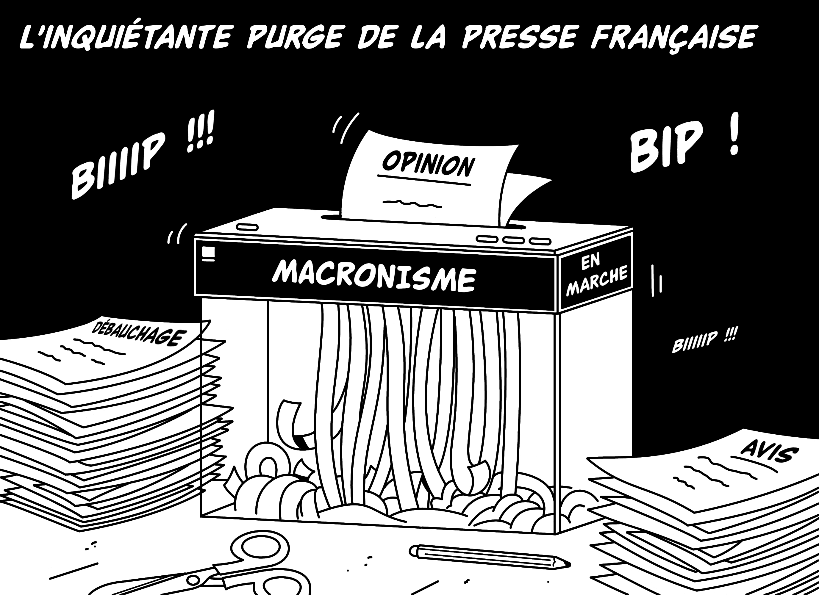 Dessin L'inquiétante purge de la presse française de Chag