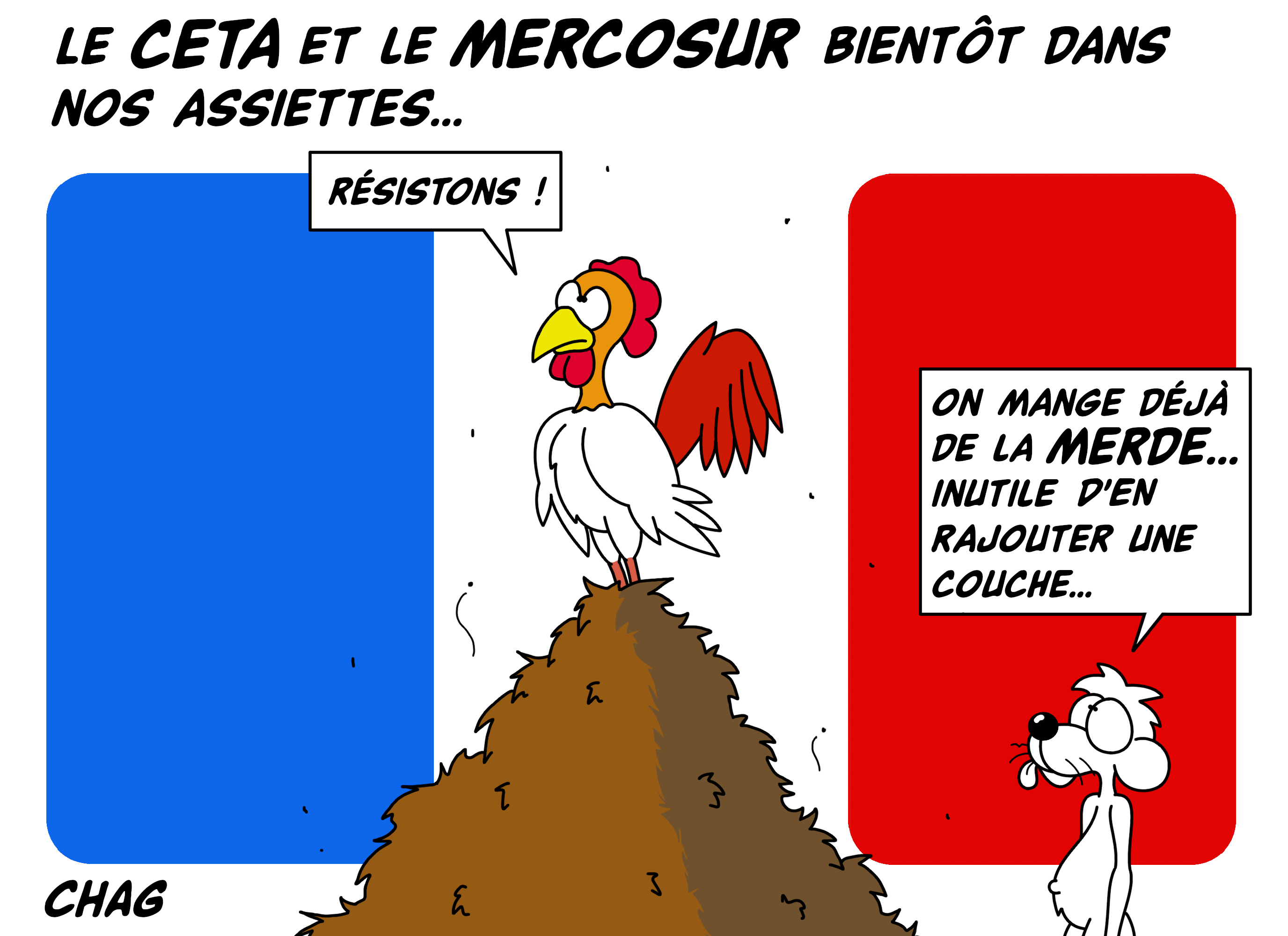 Dessin Le CETA et le MERCOSUR de Chag
