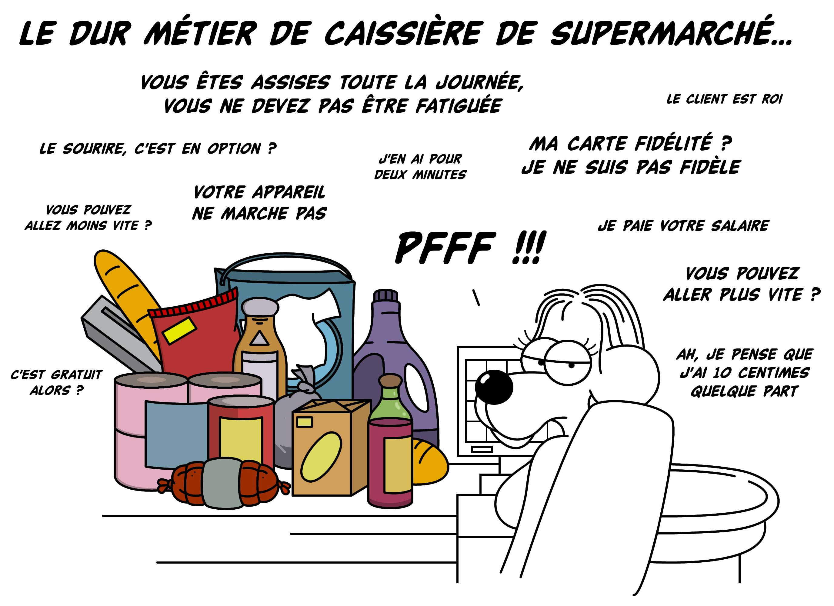 Dessin Le dur métier de caissière de supermarché... de Chag