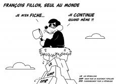 Dessin François Fillon, seul au monde de Chag