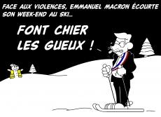 Dessin Macron au ski... de Chag