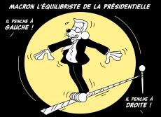 Dessin Macron l'équilibriste de la présidentielle de Chag