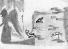 Dessin Ange caché entre deux murs. de Lubra
