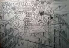 Dessin Duel au dessus de la ville de Ichem