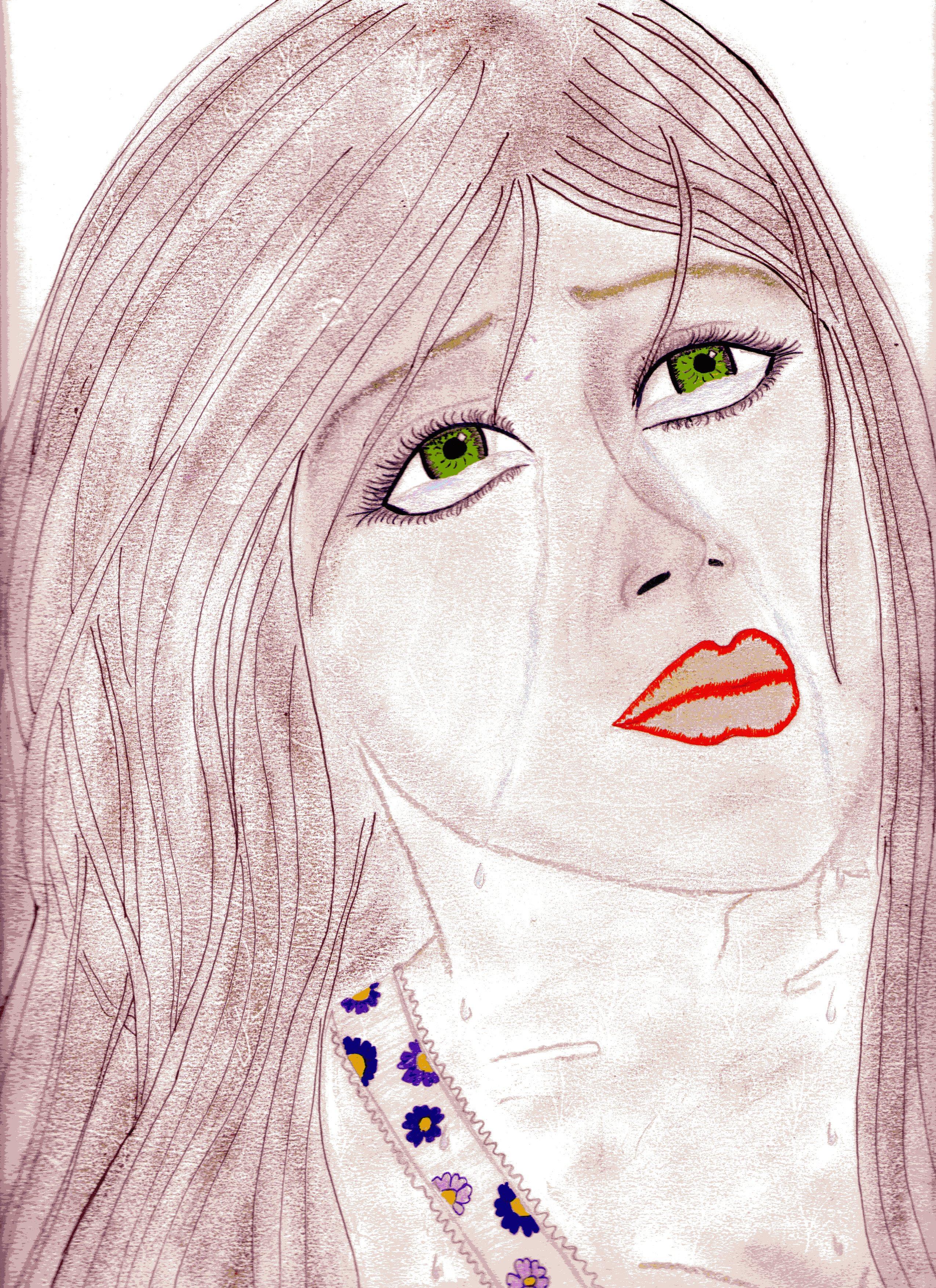Dessin Femme Triste Pastel Sec Pencildrawing Fr