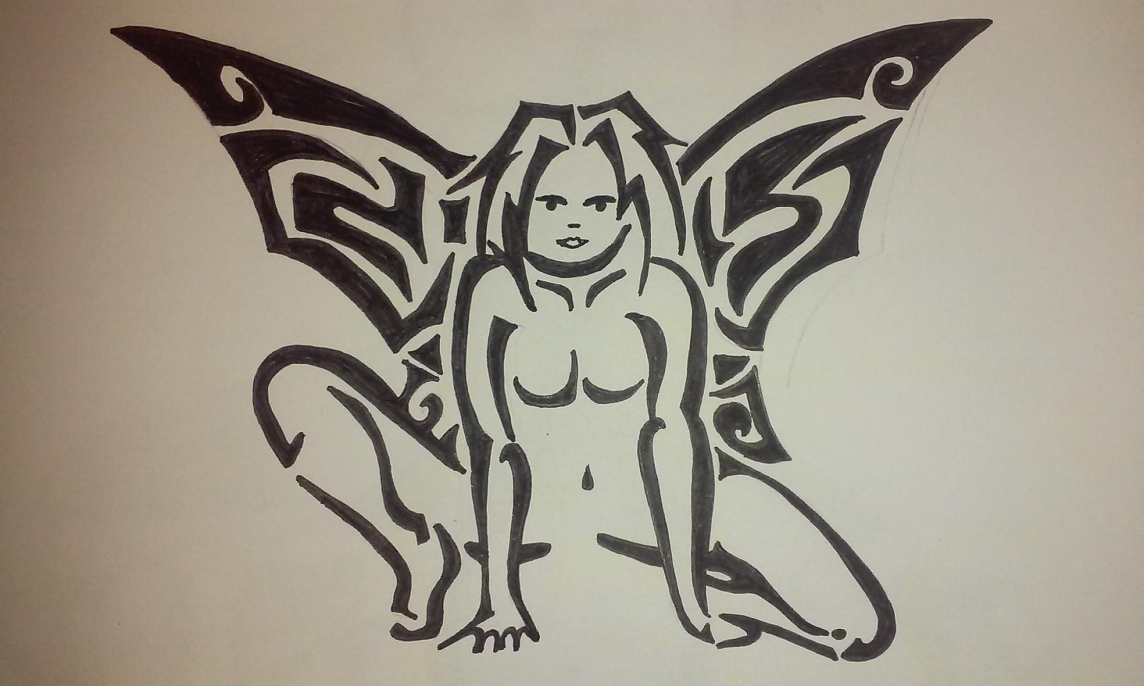 Dessin Femme ange tribal de FioArt