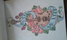 Dessin Guitare et rose de FioArt