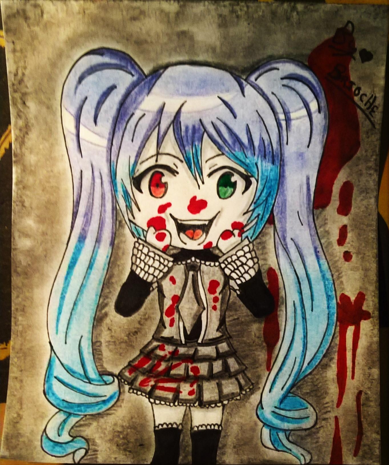 Dessin Hatsune Miku vampire Chibi de BridaKagamiku