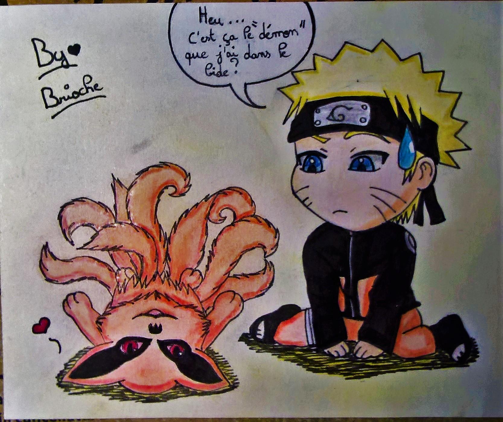 Dessin Naruto et Kurama Chibi de BridaKagamiku