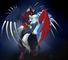 Dessin Lucius et Neya, l'ange et le démon de Erhena