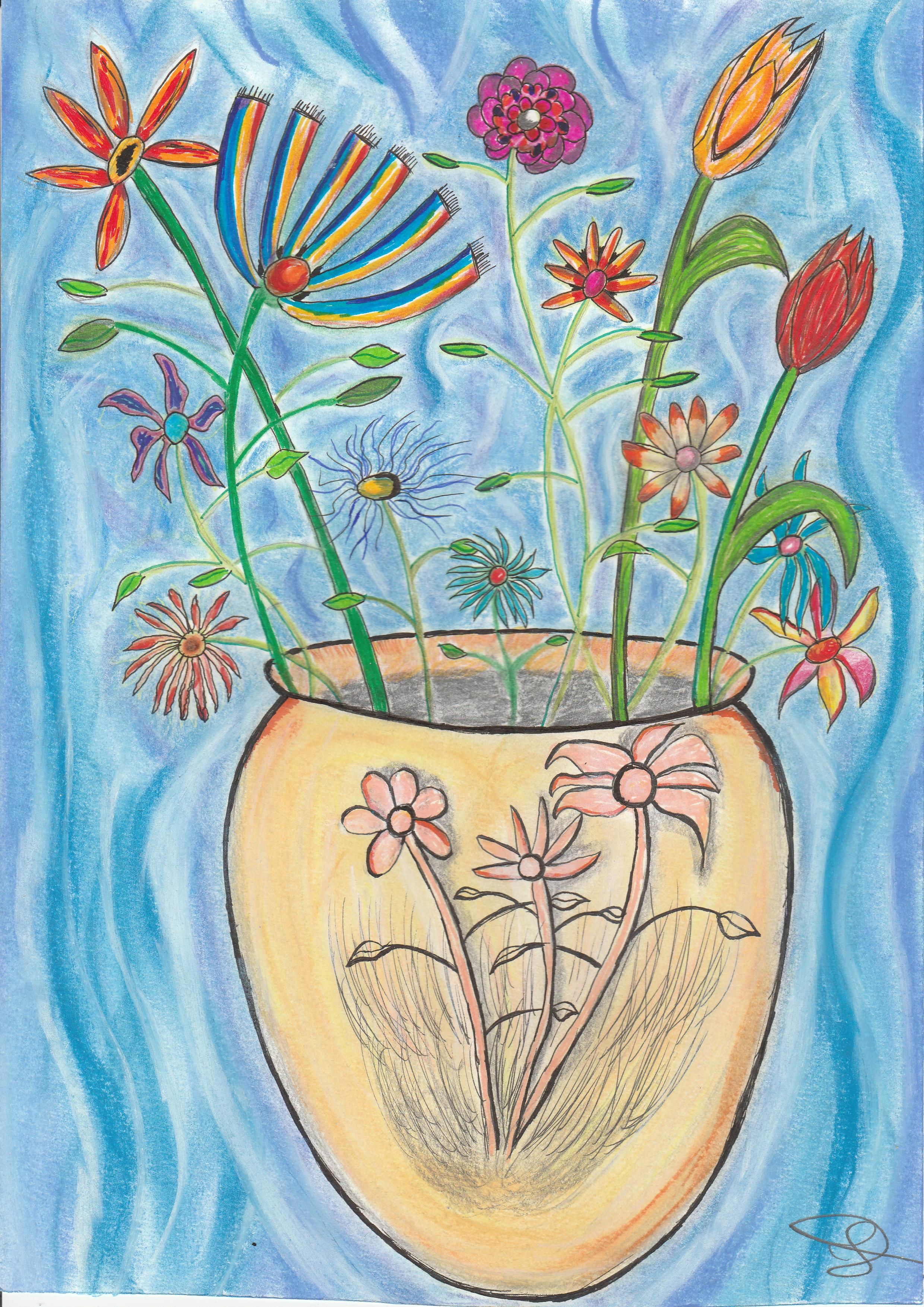 Dessin Bouquet de fleurs et vase ancien de Nimimura