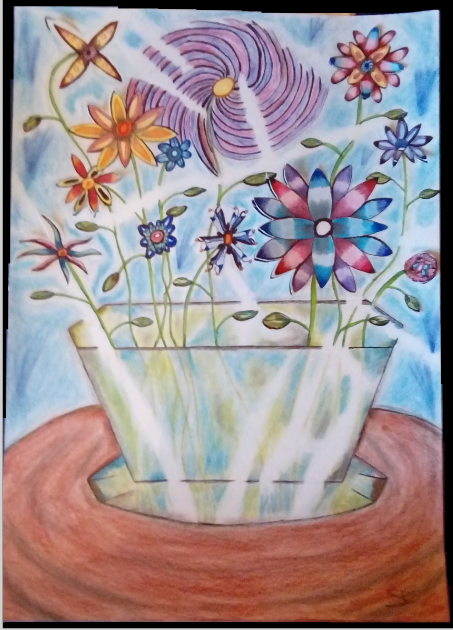 Dessin Bouquet de fleurs et vase en cristal de Nimimura
