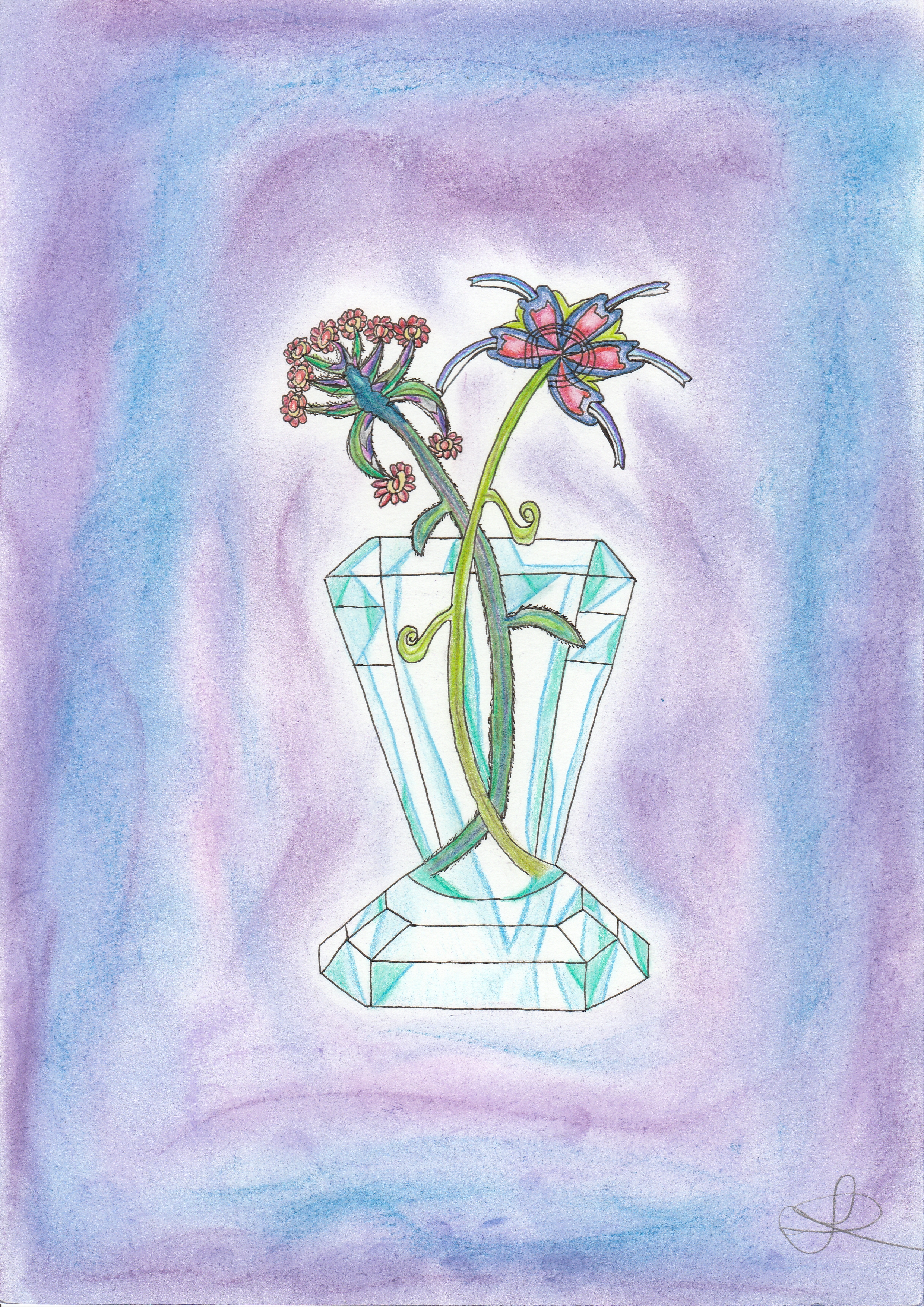 Dessin Fleurs dans un vase en verre de Nimimura