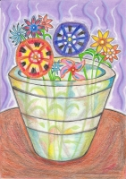 Dessin Fleurs et pot transparent de Nimimura