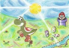 Dessin Yoshi et Mario de Nimimura
