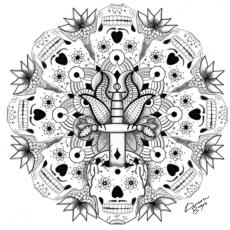 Dessin Skull Mandala de Le_platre_drawing