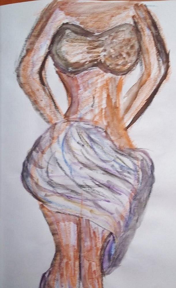 Dessin Femme avec drapé rouge de Lola27