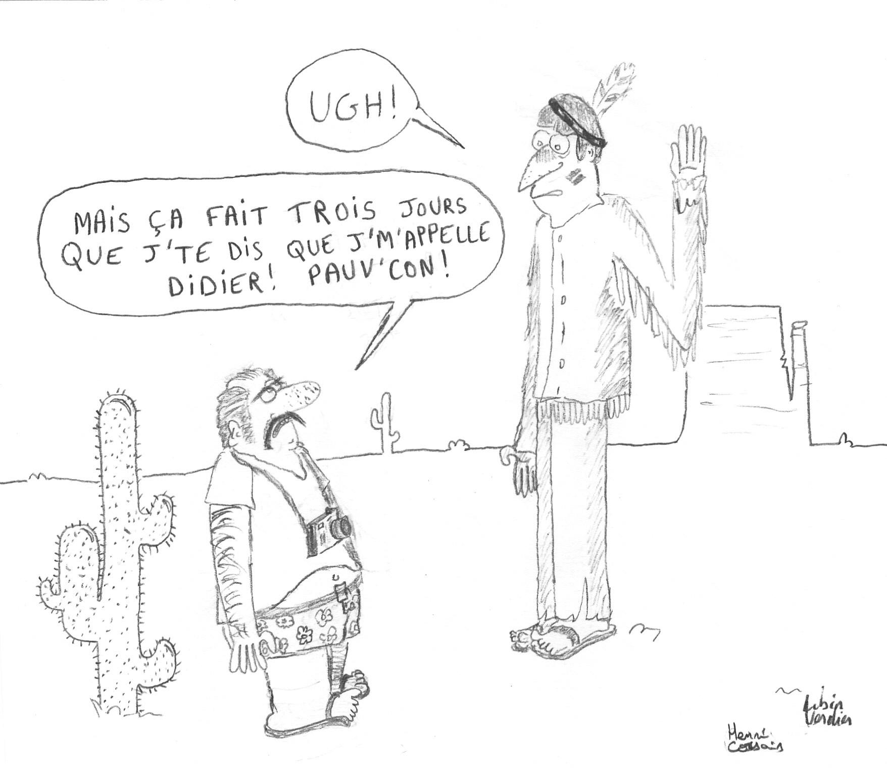 Dessin Beauchoux chez les indiens de Boutade_illustre