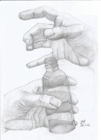 Dessin Du verre en main de Patoux
