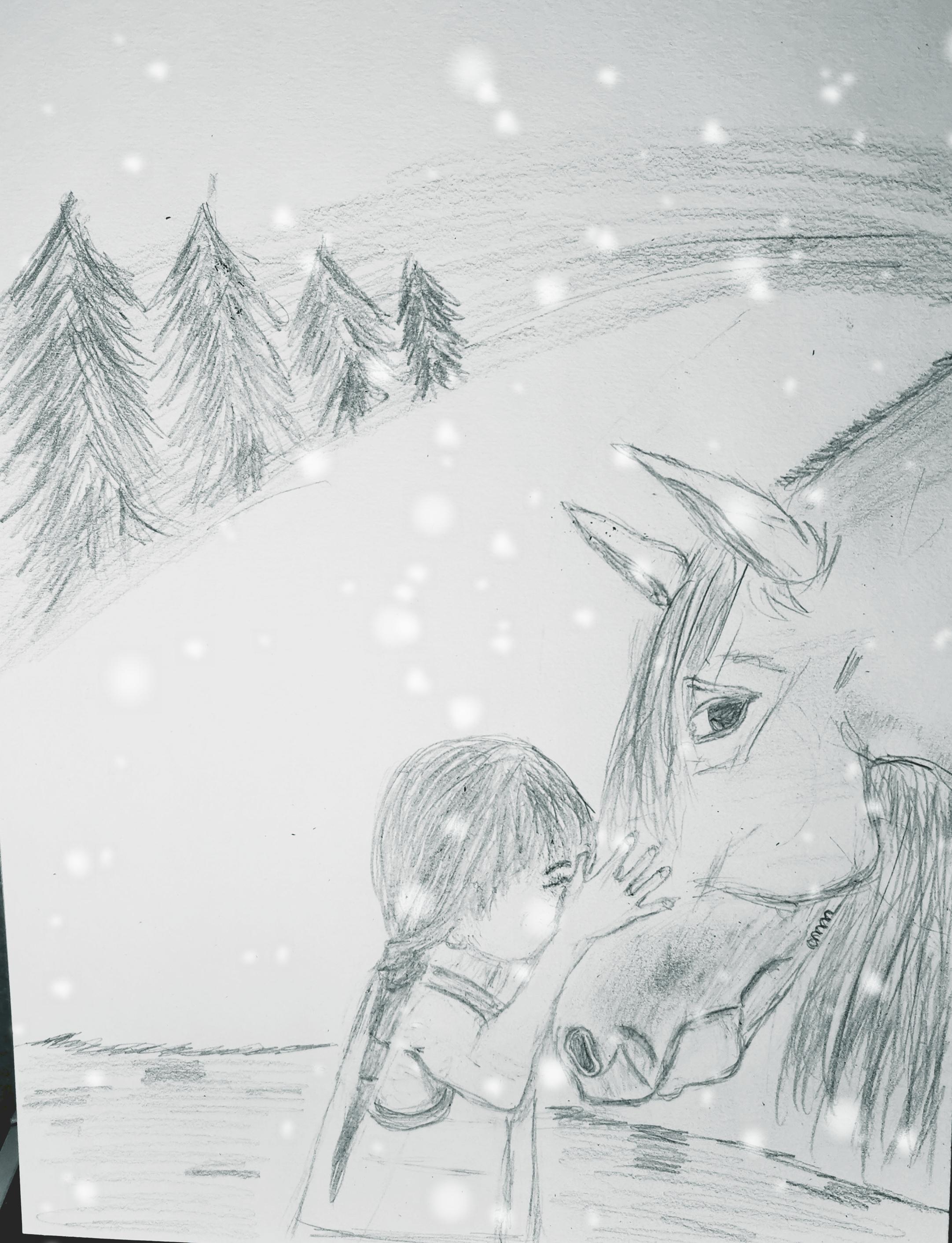 Dessin La petite fille et son cheval de Myr2006