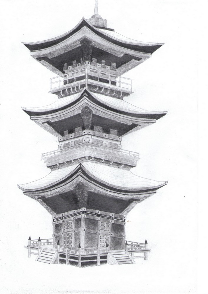 Dessin Temple asiatique de Naoto