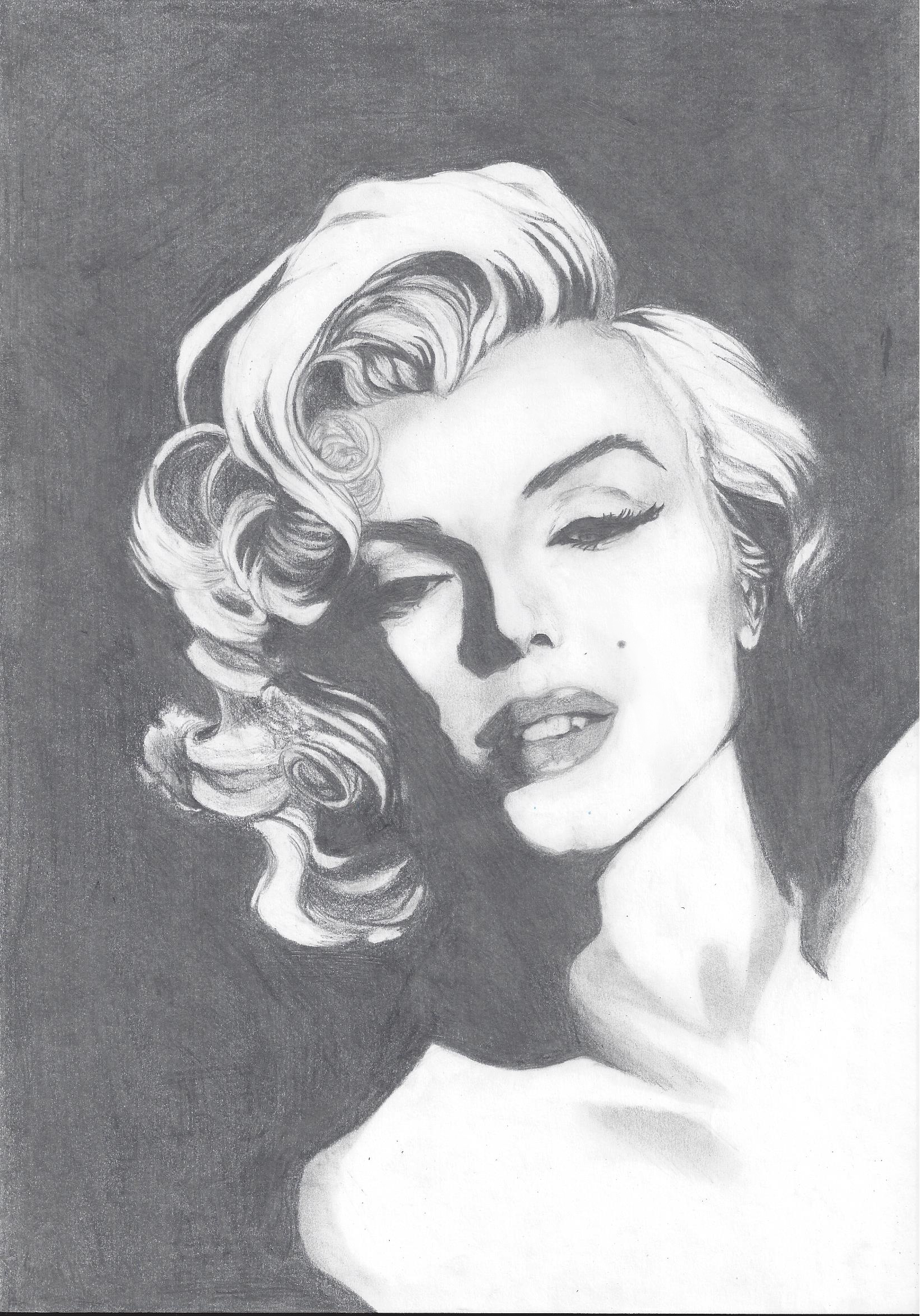Dessin Portrait Marylin Monroe N&B de Anthara