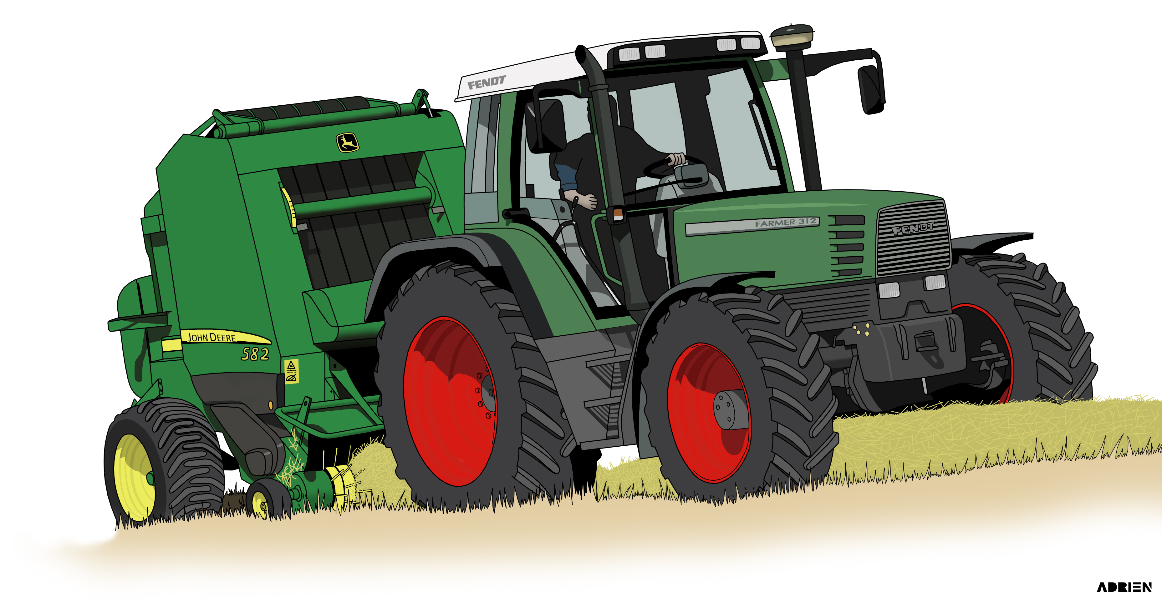 Dessin Fendt Farmer 312   Couleur sur Photoshop de Adrien72140