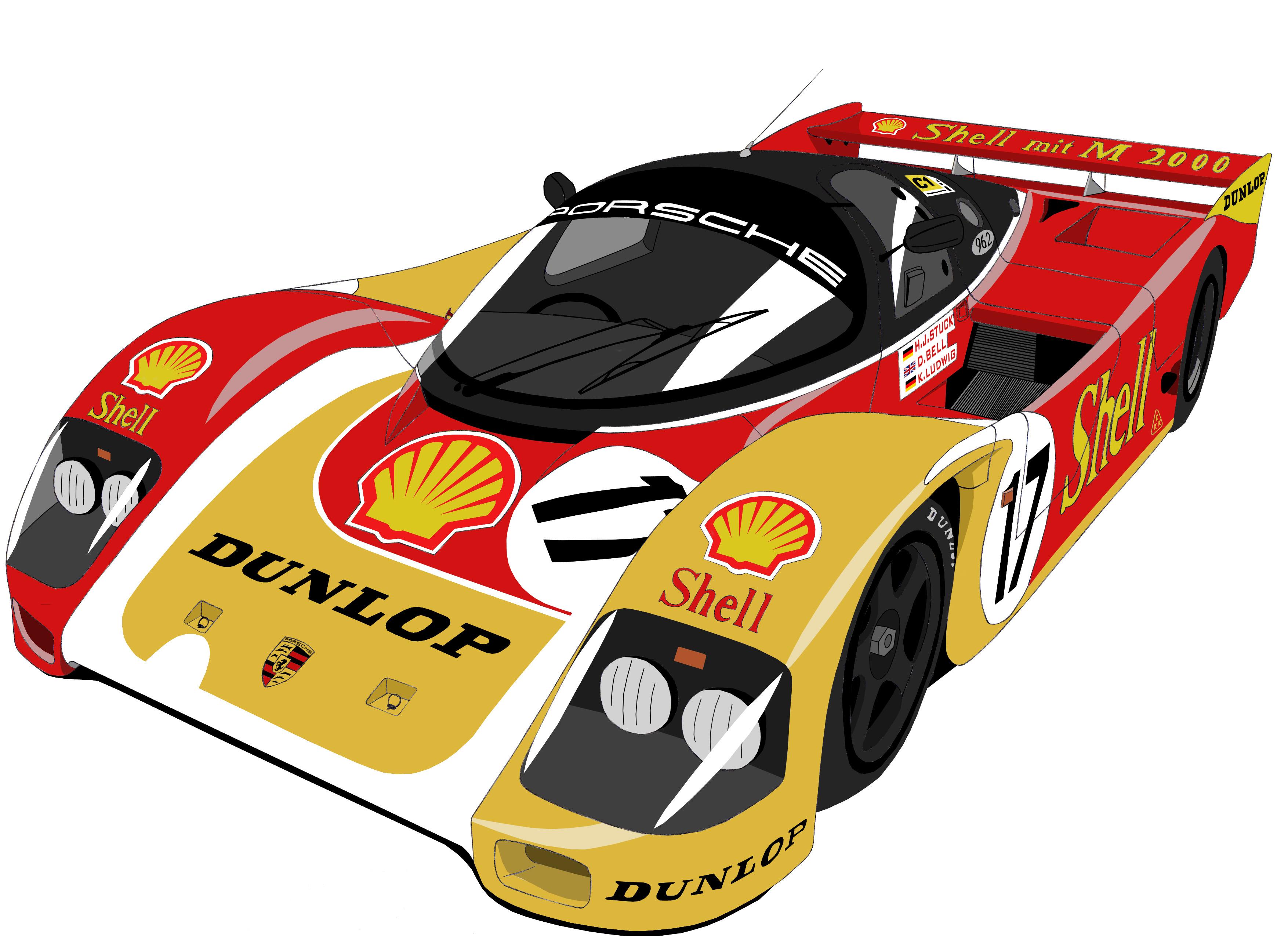 Dessin Porsche 962 couleur - PencilDrawing.fr